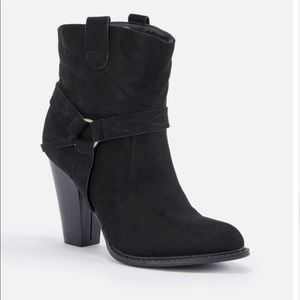Faux Suede Booties (Black) (New)